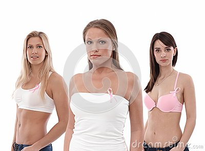 Women wearing Breast Cancer Awereness ribbon