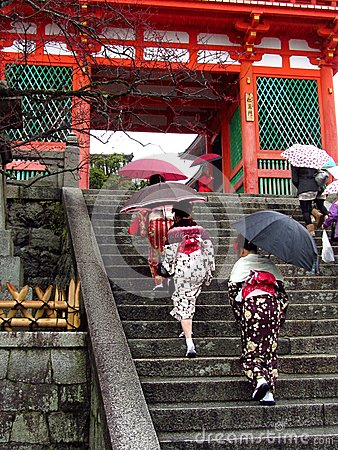 Women wearing kimono at japanese temple Editorial Stock Photo