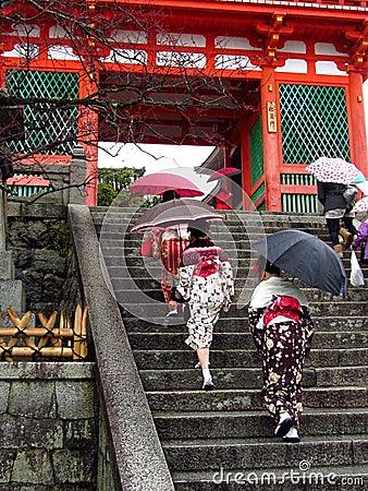 Women wearing kimono at japanese temple Editorial Stock Photo