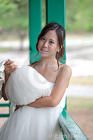 Women in white dress bride smiling