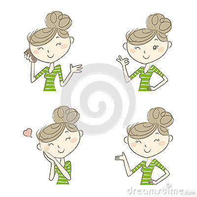 Free Women With Various Expression And Poses Stock Photo - 62868830
