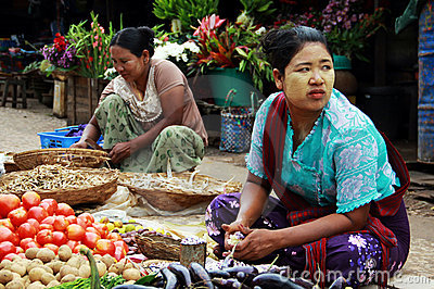 Women working in a market in Myanmar Editorial Photo