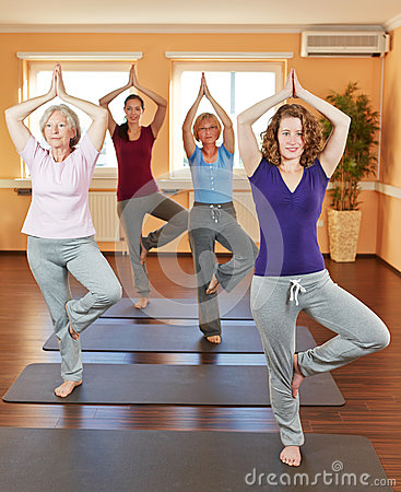 Women in yoga class in fitness