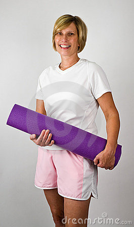 Women With Yoga Polaties Mat