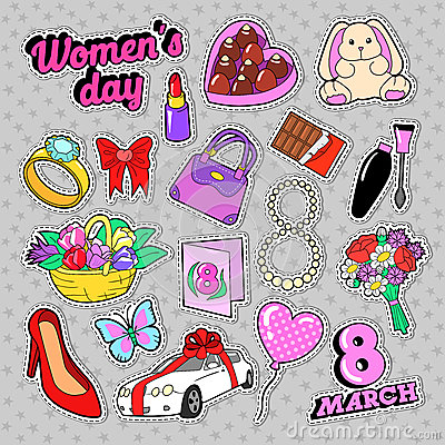 Womens Day 8 March Elements Set with Flowers and Cosmetics for Stickers, Badges, Patches Vector Illustration
