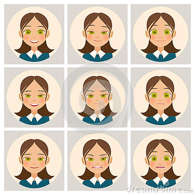 Free Womens Faces. Womans Face With Different Emotions. Vector Stock Photography - 76979642