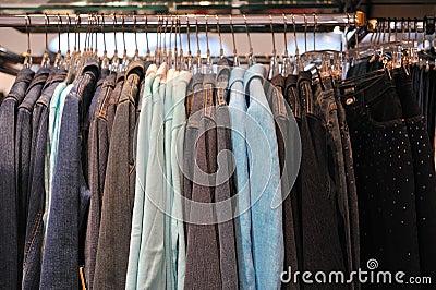 Womens jackets hanging on rail