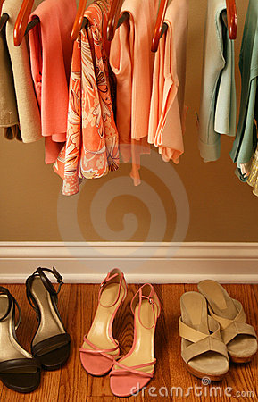Womens spring clothing in closet