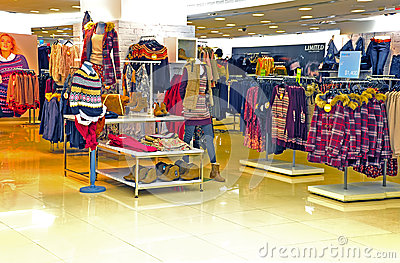 Womens winter clothing store Editorial Stock Image