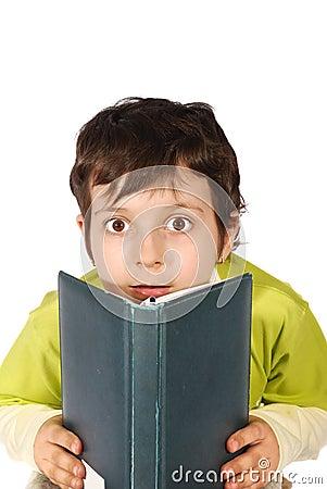 Wonder kid reading book