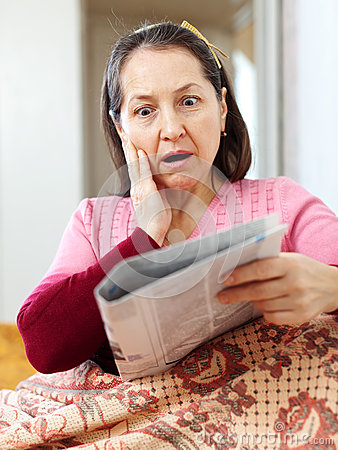 Woman having grief  after readed news