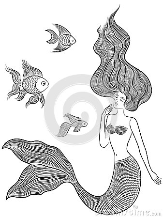 Free Wonder Mermaid With Three Fishes Royalty Free Stock Photo - 113332865