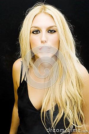 Wonderful blonde smoking