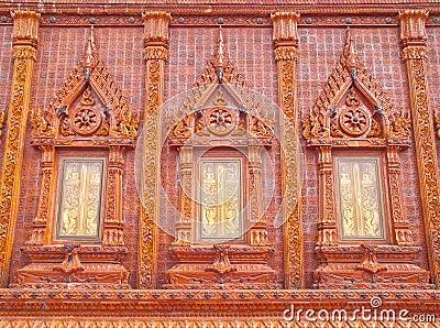 Wonderful glazed tile windows in Thailand temple