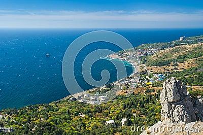 Wonderful Landscape with Blue Bay near Simeiz town Crimea