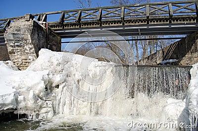 Wonderful river waterfall frozen ice water