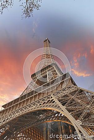Wonderful sky colors above Eiffel Tower. La Tour Eiffel in Paris