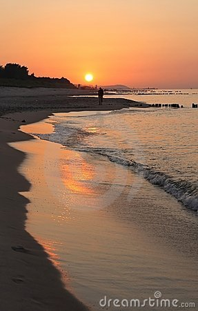 Wonderful sunset at polish coast.