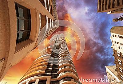 Wonderful upward view of Toronto Modern Buildings and Skyscraper
