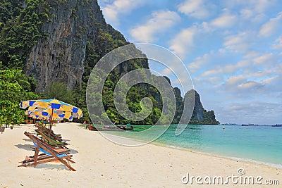 The beach umbrellas and sun beds