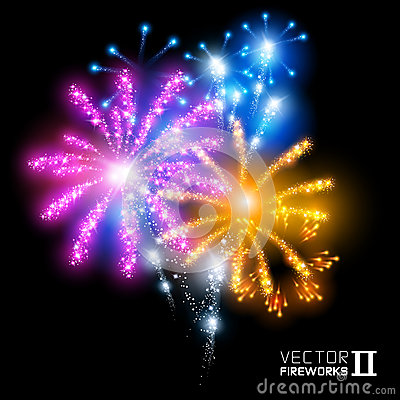 Free Wonderful Vector Fireworks Stock Photo - 31333110