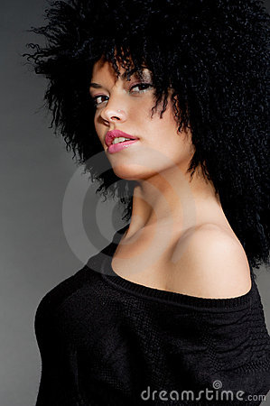 Wonderful woman with black curly hair