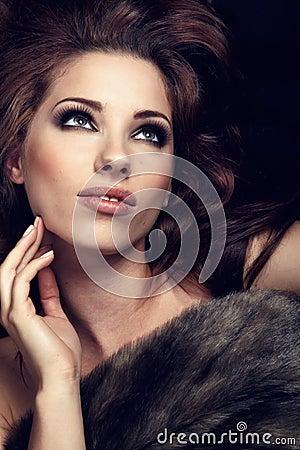 Wonderful woman in fur.