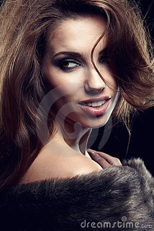 Wonderful woman in fur.
