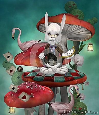 Free Wonderland Series - White Rabbit With Clock Sits On A Mushroom Stock Photography - 115216822