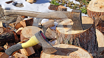 Wood axe and wood pile