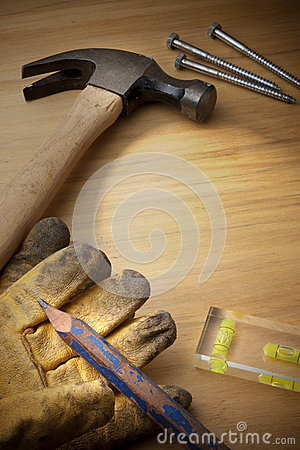 Wood Background With Tools