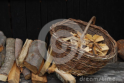 Wood in the basket