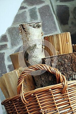 Wood in basket