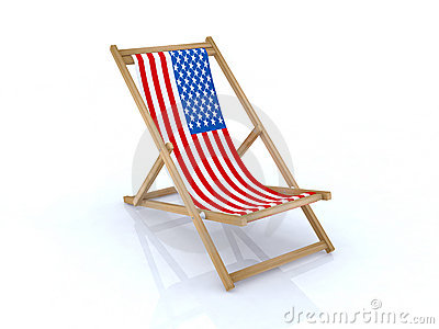 Wood beach chair with american flag