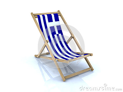 Wood beach chair with Greek flag