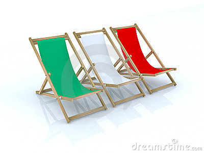 Wood beach chairs italian flag