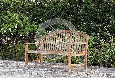 Wood Bench in a garden