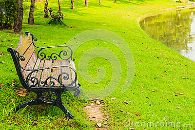 Wood Benches with Cast Iron Frame in Park