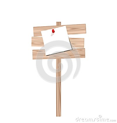 Wood billboard with attached blank paper