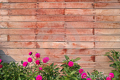 Wood Block Wall With Flowers