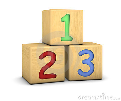 Wood blocks with 123 numbers