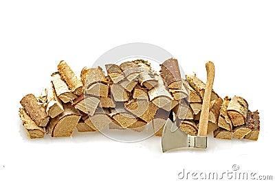 Wood blocks and an ax