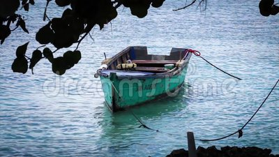 Wood boat on the beach.  stock footage