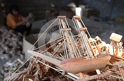 Wood boat craft Editorial Stock Photo