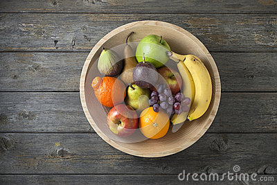Wood Bowl Fruit Background Food