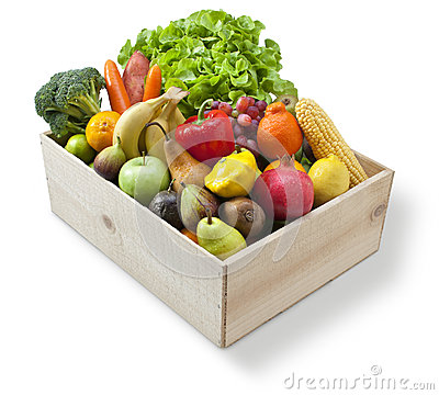 Free Wood Box Food Fruit Vegetables Stock Image - 31556511