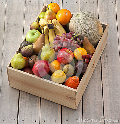 Wood Box Of Fruit