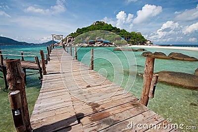 Wood bridge with beach and sea, South Thailand