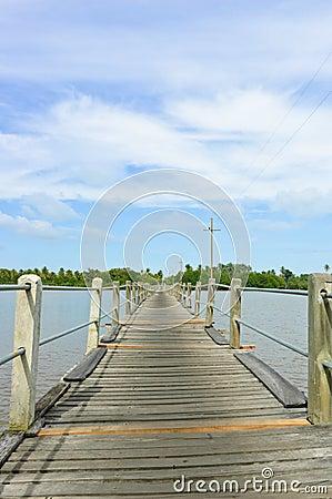 Wood bridge over a river