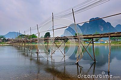 Wood bridge over river song, Vang vieng, Laos
